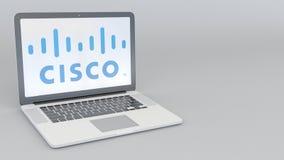 Laptop mit Cisco Systems-Logo Wiedergabe des Computertechnologiebegriffsleitartikels 3D Stockfotografie
