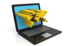 Laptop mit 3d verdrängte Weltkarte auf Schirm Stockfotografie
