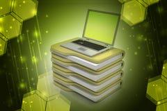 Laptop mit Dateien lizenzfreie abbildung