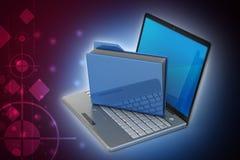 Laptop mit Dateiordner Lizenzfreies Stockbild
