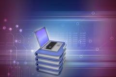 Laptop mit Dateiordner Stockfotografie