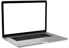 Laptop mit dem leeren Bildschirm lokalisiert auf weißem Hintergrund, weißer Aluminiumkörper Lizenzfreies Stockbild