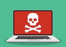 Laptop mit dem Schädel auf dem Schirm Lizenzfreie Stockfotos