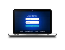 Laptop mit der ebanking Anmeldungsseite lokalisiert über Weiß Stockfotografie