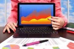 Laptop mit Devisendiagramm Lizenzfreie Stockbilder
