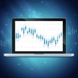 Laptop mit Devisendiagramm auf dem Desktop Stockfoto