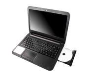 Laptop mit dvd Scheibe Stockfoto