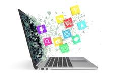 Laptop mit Farbanwendungsikonen Abbildung 3D Stockbilder