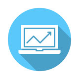 Laptop mit flacher Ikone des Diagramms Lizenzfreie Stockfotos