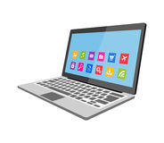 Laptop mit flacher Illustration der Ikonen Lizenzfreies Stockbild