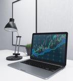 Laptop mit Geschäftsdiagrammseite Lizenzfreie Stockfotos