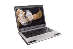 Laptop mit goldenem lockigem Farbband und Kugel Stockbilder
