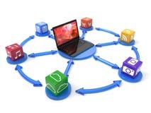 Laptop mit Kasten-Software Stockfoto