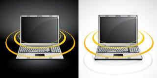 Laptop mit Radioapparat lizenzfreie abbildung