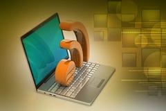 Laptop mit rss Ikone Stockbilder