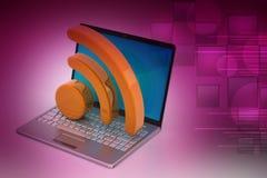 Laptop mit rss Ikone Lizenzfreie Stockfotografie