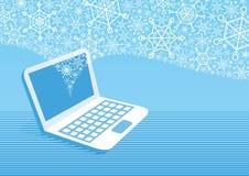 Laptop mit Schneeflocken heraus fliegen lizenzfreie abbildung