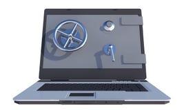 Laptop mit sicherer Tür auf Bildschirm Lizenzfreie Stockfotografie