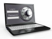 Laptop mit Stahlsicherheitsverriegelung. Kennwort Stockfoto