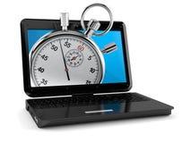 Laptop mit Stoppuhr lizenzfreie abbildung
