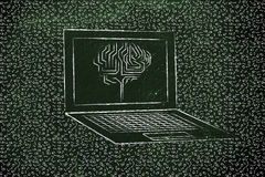 Laptop mit Stromkreisgehirn auf Schirm, mit unordentlichem binär Code arou Lizenzfreie Stockfotos