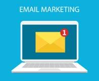 Laptop mit Umschlag und offene E-Mail auf Schirm Lizenzfreies Stockbild