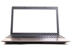 Laptop mit weißem Überwachungsgerät Stockfotografie