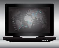 Laptop mit Weltkarte und Diagramm mit Punkten Lizenzfreie Stockfotos
