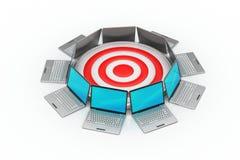 Laptop mit Zielikone Lizenzfreie Stockfotos