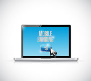 Laptop mobile banking illustration design. Over a white background Royalty Free Stock Photos