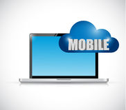 Laptop and mobile cloud connection illustration Stock Images