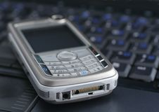 Laptop and mobile phone Stock Photography