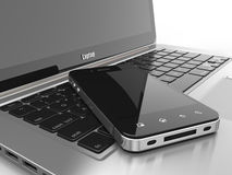 Laptop and mobile phone. Three-dimensional image. 3d Royalty Free Stock Photography