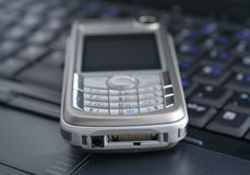 Laptop and mobile phone Stock Image