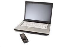 Laptop and mobile phone Stock Photo