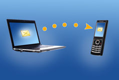 Laptop and mobile phone. Communication concept. royalty free illustration