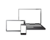 Laptop, mobile phone and digital tablet pc royalty free illustration