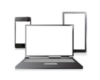 Laptop, mobile phone and digital tablet pc stock illustration