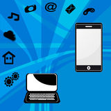 Laptop and mobile phone Royalty Free Stock Images