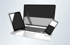 Laptop mobile phone and tablet connected to each other 3D render Stock Image