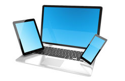 Laptop mobile phone and tablet connected to each other 3D render. Modern laptop mobile phone and tablet with blue screen 3D rendering Royalty Free Stock Images