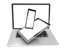 Laptop mobile phone and tablet connected to each other 3D render Royalty Free Stock Photos