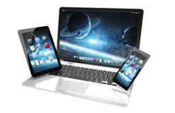 Laptop mobile phone and tablet connected to each other 3D render Royalty Free Stock Image