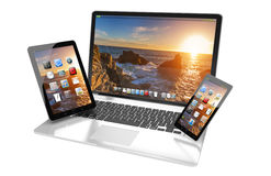 Laptop mobile phone and tablet connected to each other 3D render. Modern laptop mobile phone and tablet interacting with each other 3D rendering Royalty Free Stock Photo