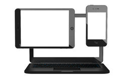 Laptop, Mobile Phone and Tablet PC. 3d rendering Stock Photography