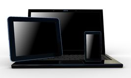 Laptop, mobile phone and tablet pc Stock Images