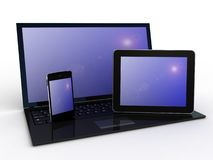 Laptop, mobile phone and tablet pc.Electronics. 3d. Laptop, mobile phone and tablet pc.Electronics.3d images Stock Images
