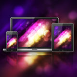 Laptop, mobile phone and tablet pc Royalty Free Stock Photos