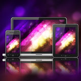 Laptop, mobile phone and tablet pc Royalty Free Stock Photo