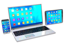 Laptop, mobile phone and tablet pc  on white background. Stock Image